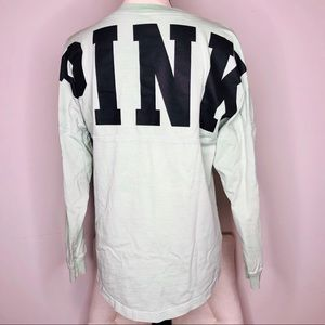 PINK Tops - 💥 VS Pink Green Long Sleeve Tee in Sz XS